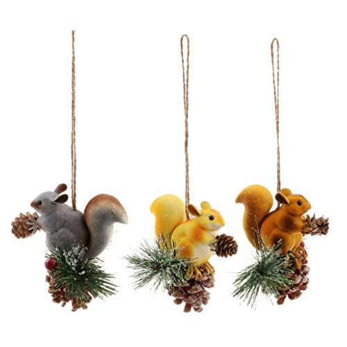 perfeclan 3pcs Künstliches Eichhörnchen Baumschmuck Weihnachtsaufhänger, als Hochzeit / Geburtstag Party deko