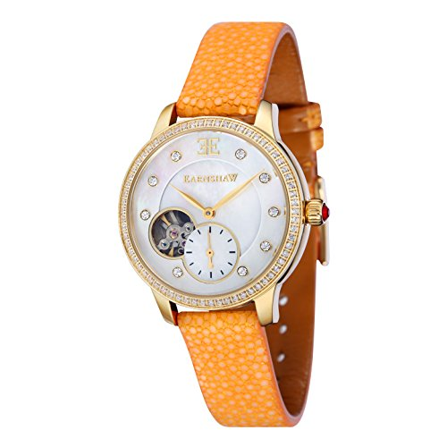 Thomas Earnshaw Women's Automatic Australis Mechanical Watch with White Dial Analogue Display and Yellow Strap ES-8029-06