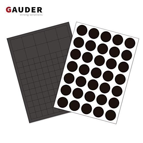GAUDER 145 x Magnetplättchen und Magnetpunkte Selbstklebend I Magnet-Plättchen für Fotos, Postkarten, Schilder, Schule & Tafel