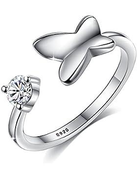 Fashmond ValentinstagGeschenke Symbol Schmetterling Fingerring Ring für Damen und Herren aus 925 Sterling Silber...