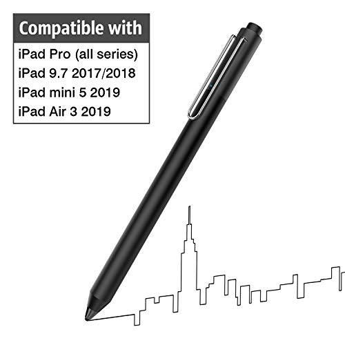 MoKo Stylus Stift,Touchscreen Eingabestift Pen mit Hoher Empfindlichkeit Kompatibel für iPad Pro 9.7/10.5/11/12.9, iPad Mini 5/iPad Air 3 2019, iPad 9.7 2017/2018, iPhone XS/XS MAX/XR - Schwarz