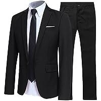 Mens Suits 2 Piece Suit Slim Fit Wedding Dinner Tuxedo Suits for Men Business Casual Jacket & Trousers 10 Colors…