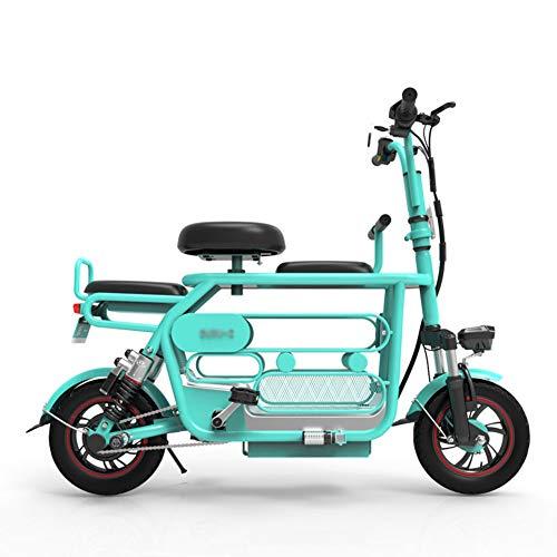 LHLCG Bicicletta elettrica - E-Bike Pieghevole a Tre posti con Spazio di archiviazione,Blue,10Ah