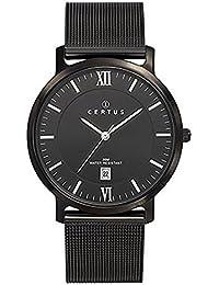 Certus–Reloj Hombre 616427–Pulsera Milanais negro–Caja Acero Negro–Reloj Negro–Fechador