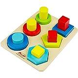 ACOOLTOY Holzspielzeug Formen Stecken Stapel Puzzle Bunte Sortier Block für Kinder (Blau)