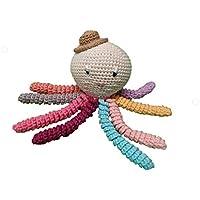 Pulpo amigurumi para recién nacido multicolor con sombrero. Pulpo de ganchillo - crochet para bebé ideal como regalo de nacimiento.