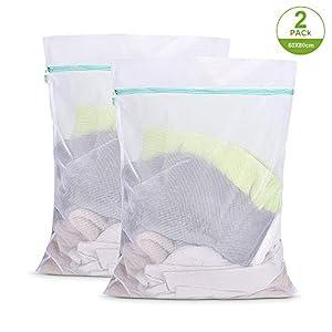 OTraki Wäschesack XL für Waschmaschine 60x80cm Wäschebeutel Wiederverwendbare Feinmaschiges Wäschenetz Groß mit Reißverschluß für Fleecedecke Bettwäsche Gardinen Bettwäsche
