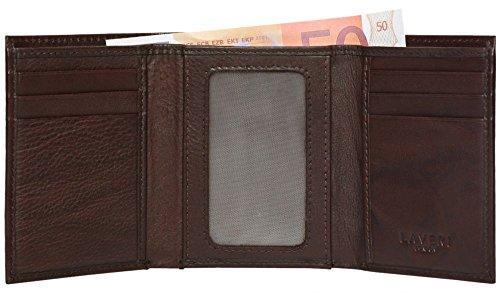 LAVERI Mens High Luxus Echtleder TriFold Design Brieftasche Kreditkartenfächer, ID-Fenster und Münzfach in Geschenk Box #1508 (Mens Id-fenster Wallet)