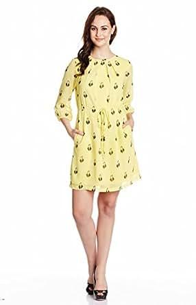 Zink London Women's Column Dress (W14D09_Yellow_Small)