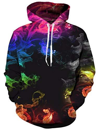 Loveternal Unisex Bunter Rauch Hoodie 3D Druck Kapuzenpullover Sweatshirt für Frauen Männer mit Kordelzug Taschen S/M