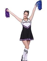maboobie Tenue Complete Debardeur Jupe a Volant Pom-Pom Girls Cheerleader Noir a Rayures Violettes av/ 2 Pompons L (38-40)