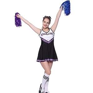 maboobie Tenue Complete Debardeur Jupe a Volant Pom-Pom Girls Cheerleader Noir a Rayures Violettes av/ 2 Pompons XXL (46-48)