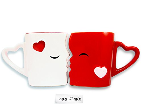 Mia ♥ Mio – Tazza da caffè/Set Bacio Tazze in Ceramica (Rosso) - 4
