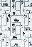 Livone Spielteppich Straßenteppich PLAYLOVE Room grau Weiss schwarz waschbar Größe 90x130 cm
