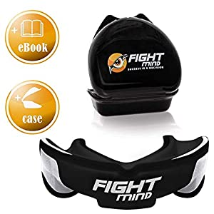 Fight Mind Defender Profi-Zahnschutz ⇨ Sport-Mundschutz + E-Book + Mehr O2 + BPA Frei ⇨ für Rugby, Handball, Hockey, Boxen, Football, MMA, Muay Thai