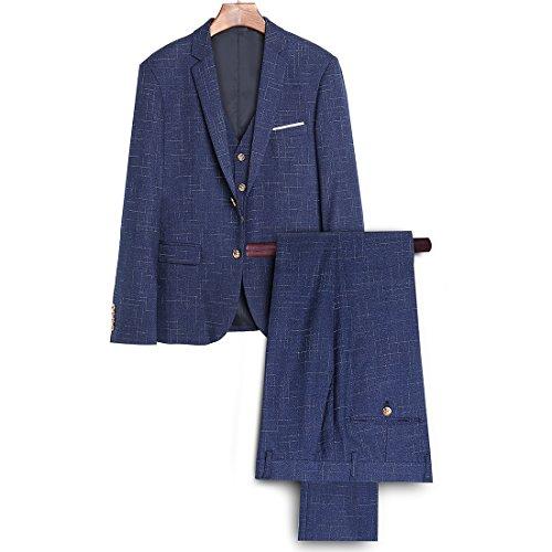 Herren Anzug Slim Fit 3 Teilig mit Weste Sakko Anzughose Business Smoking von Harrms Blau