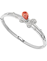 Silver Shoppee Ebullient Wings Rhodium Plated Crystal and Cubic Zirconia Studded Alloy Bracelet for Girls and Women