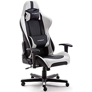 Robas Lund OH/FD32/NW DX Racer 6 Gaming-/ Schreibtisch-/ Bürostuhl, schwarz/weiß, 78 x 52 x 124-134 cm