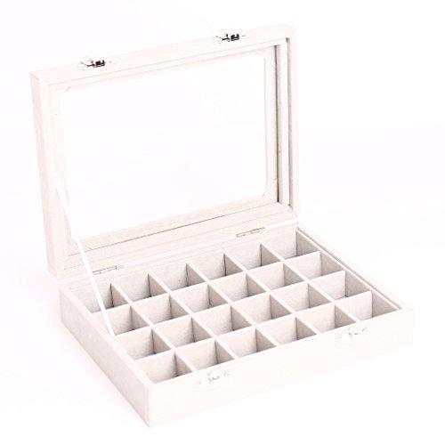 24 Cuadrículas Caso De Exhibición De Cristal Joyero Tapa Gris Conten