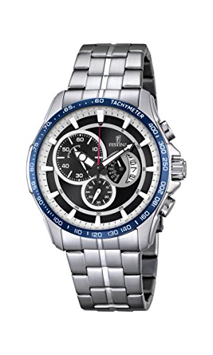 Festina CHRONO Men's Quartz Watch with Black Dial Chronograph Display and Silver Stainless Steel Bracelet F6850/1