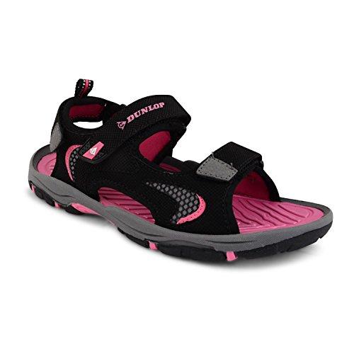 Womens Ladies Dunlop Flat Open Toe Velcro Sports Sandals Trekking Hiking Shoes, DLP611 Black Fus UK 4