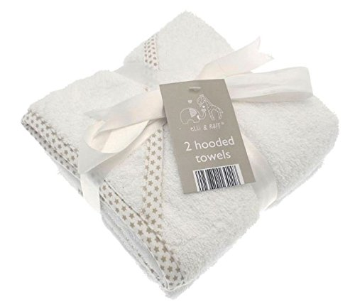 2 Soft White Elli and Raff Baby Hooded Bath Time Towel 100% cotton Baby Gift (White)