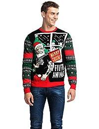 1991b4c99b6f Herren Weihnachtspullover Unisex Hässliche Pulli Lustig Strickpullover Ugly  Weihnachtspulli mit weihnachtlichen Motiven für Damen Herren Weihnachtsparty