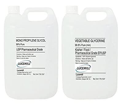 5 LITRE PROPYLENE GLYCOL MPG & 5 LITRE VEGETABLE GLYCERINE VG EP/USP PURE PHARMA GRADE for Vaping Liquid Base/e-Cigarette from Lucemill
