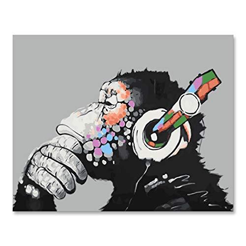 CUFUN Kunst Malen nach Zahlen Kit DIY Vorgedruckt Leinwand Ölgemälde Geschenke für Kinder Erwachsene Wand-Dekor ohne Rahmen 40x50cm (Musik AFFE)