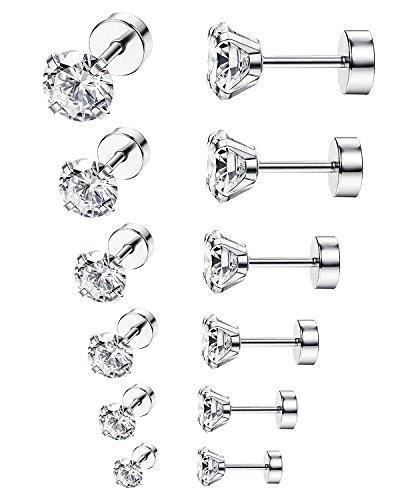 BESTEEL 6 Paia Acciaio Inossidabile Orecchini Rotondo per Donna Uomo Manubrio Piercing Cubic Zirconia, 3-8CM Argento