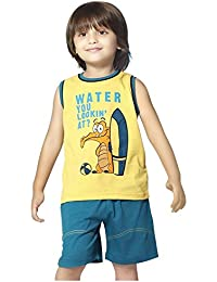 8c963228b5 Night Suit for Toddlers - Yellow and Blue Color - Lycra Material - Printed Night  Suit
