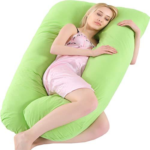AEIL - Almohada en forma de U para embarazada, para dormir lateral, desmontable, multifuncional, apoyo de cintura, silencioso y cómodo, ergonómico, almohada larga de maternidad verde verde