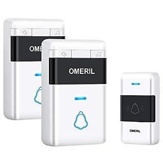 Door Bell, OMERIL Loud Wireless Doorbells with 5 Level Volume (Mute Mode), 300M Wireless Range, Colorful LED Flash & 32 Tunes, IP55 Waterproof Doorbell (Battery Built-In) with Twin Plug in Receivers