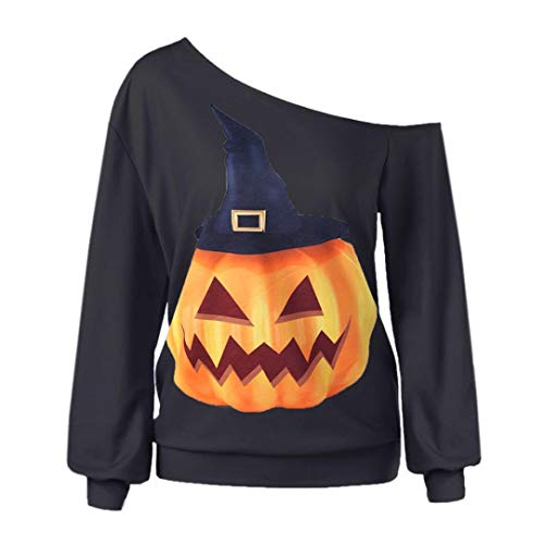 VEMOW Herbst Winter Damen Plus Size Langarm Halloween Pullover Verärgerter Kürbis Skew Neck Lässige Party Cosplay Tees Bluse Tops(Schwarz 6, EU-48/CN-2XL)