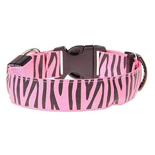 Doggie Stuff LED-Halsband für Hunde, Nylon, verstellbar, für kleine und große Hunde, 3 Blinkmodische Modische Zebra, Small, Rose Zebra Rose