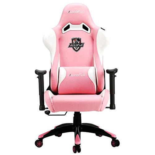Comif- E-Sports Ledersessel, Hoher Rückenlehnenstuhl, 155 ° Liegefläche, 4D-Ringverpackung, Drehbare Armlehne für Anheben, Racing-Mute-Roller, Hohe Tragfähigkeit (Rosa)