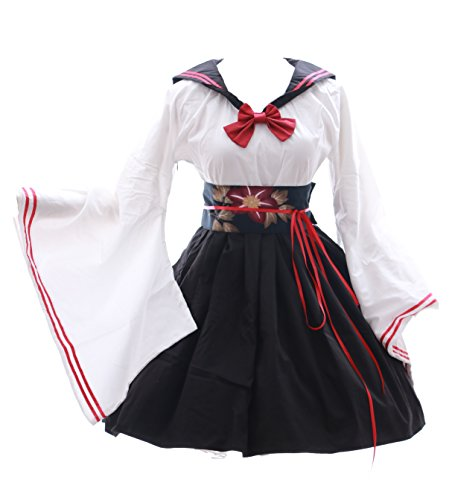 JL-577 Kimono Sailor schwarz weiß Lolita Kleid Kostüm dress Cosplay Japan (Gr. L)