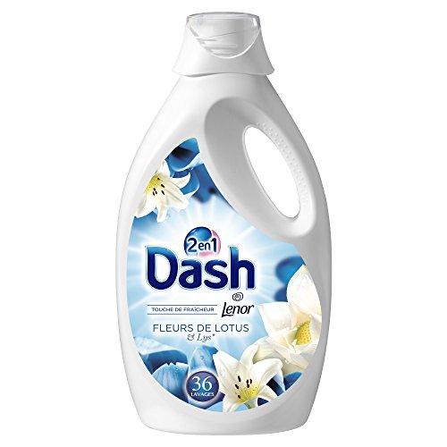 Dash 2en1 Lessive Liquide Fleurs de Lotus&Lys 36Lavages - Lot de 2