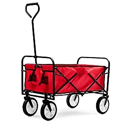LIFE CARVER Garden Folding Trolley Garden Hand Pull Wagon Garden Transport Cart Collapsible Protable Cart for Outdoor Camping BBQ Shopping Gardening-150KG Capacity (Red)
