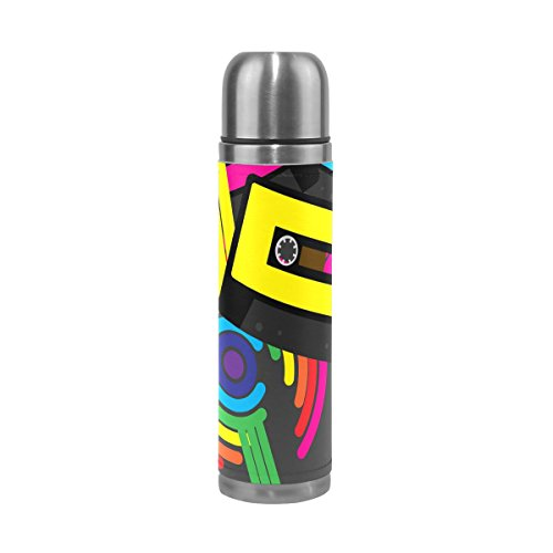 COOSUN Retro Cintas de Casete Audio del Arco Iris de Acero Inoxidable Frascos de Agua Botella de vacío de la Taza aislada a Prueba de Fugas de la Botella Doble vacío, Viajes PU Taza térmica, 17 oz 1