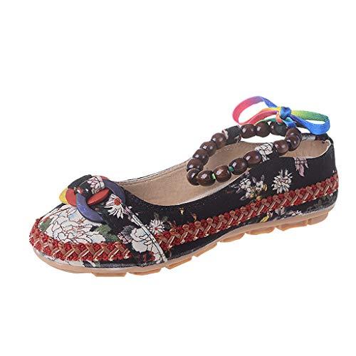 Ziyou Neue Retro Ethnische Perlen Bestickte Spitze Tuch Schuhe Ethnische Strap-On Frauen Bequeme Einzelne Schuhe