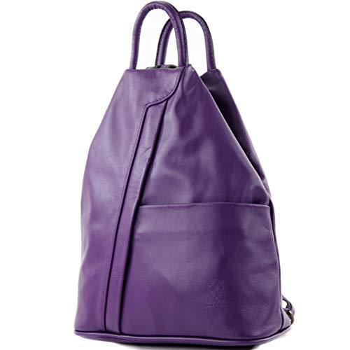 modamoda de - T180 - ital Damen Rucksack Tasche Nappaleder, Farbe:Violett