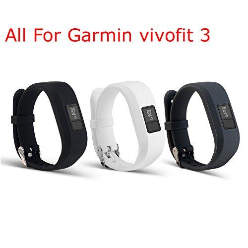 mtsugar Garmin Vivofit 3Ersatz-Armband mit sicheren Verschlüssen (ohne Tracker, nur Ersatzbänder), Black&White&Gray
