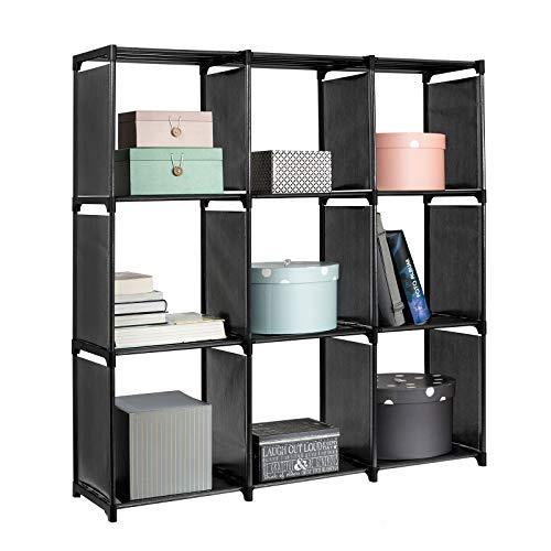 casa pura Etagere Dressing Modulable - Meuble Chambre | Rangement Cube avec 9 Compartiments DIY | Bibliothèque | 110 x 160 x 30cm | Noir