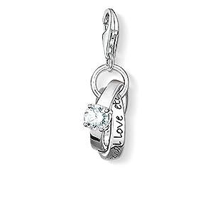 Thomas Sabo Damen-Charm-Anhänger Eheringe Hochzeit Charm Club 925 Sterling Silber geschwärzt Zirkonia weiß 0673-051-14
