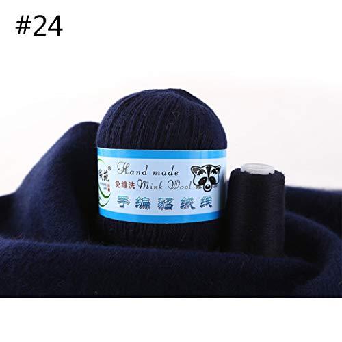 Qiman - 50 g, 1 pieza, suave hilo de lana de visón, tejido a mano de lujo, cachemira, ganchillo, bufanda de punto 24
