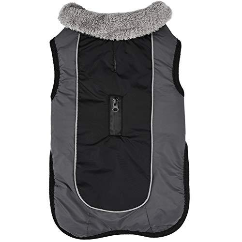 JoyDaog Hundemäntel mit Fleecehalsband für kleine Hunde, wasserdichte, warme Baumwolljacke für kalte Winter, Schwarz S