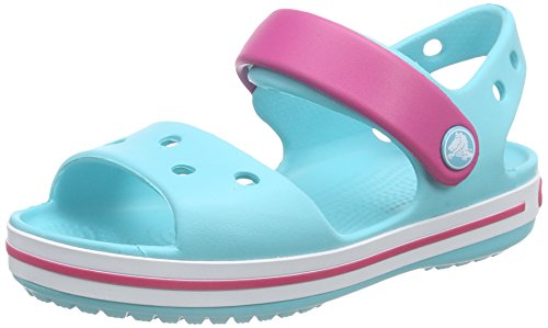 Crocs crocband sandal kids, sandali con cinturino alla caviglia unisex – bambini, blu (pool/candy pink), 29/30 eu