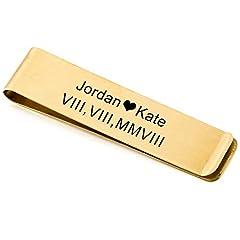 Idea Regalo - MeMeDIY Oro Tono Acciaio Inossidabile Clip Fermasoldi Titolare - Personalizzato Incisione