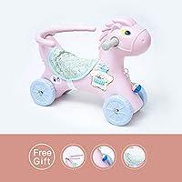 ☝YY Kids Toy Rocking Horse, Máquina Multifuncional para artículos de Historia con barandilla de barandilla (Color : Pink, Tamaño : D)